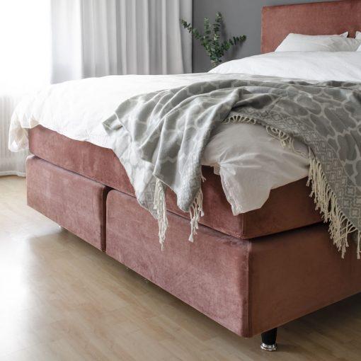Kontinentalsäng LECTUS IMPRESS™, sammetsklädsel, gammelrosa